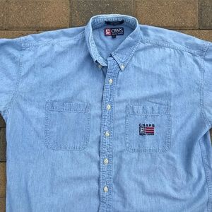 Chaps Ralph Lauren Blue Jean Denim Button Up Shirt